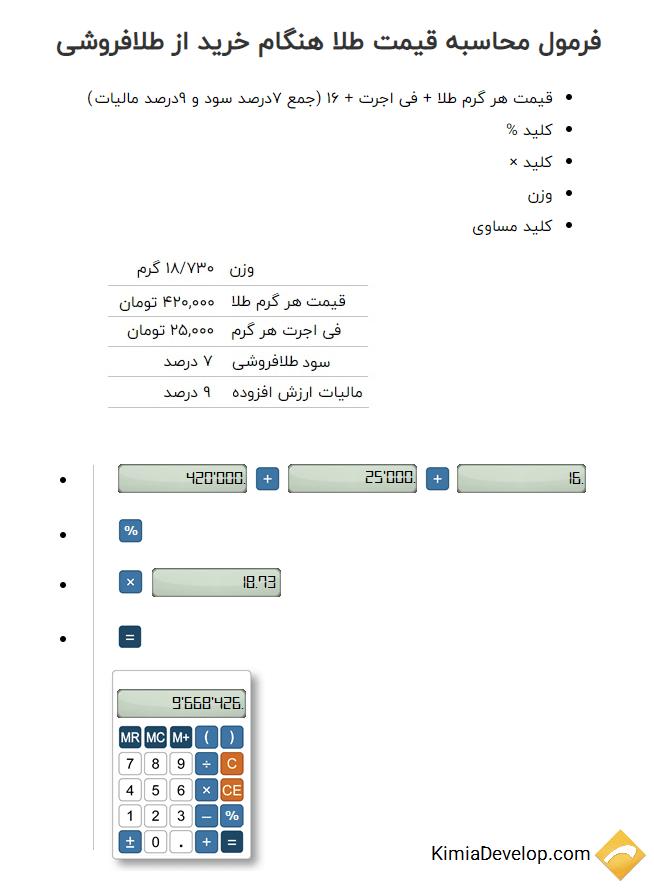 فرمول محاسبه قیمت طلا هنگام خرید از طلافروشی